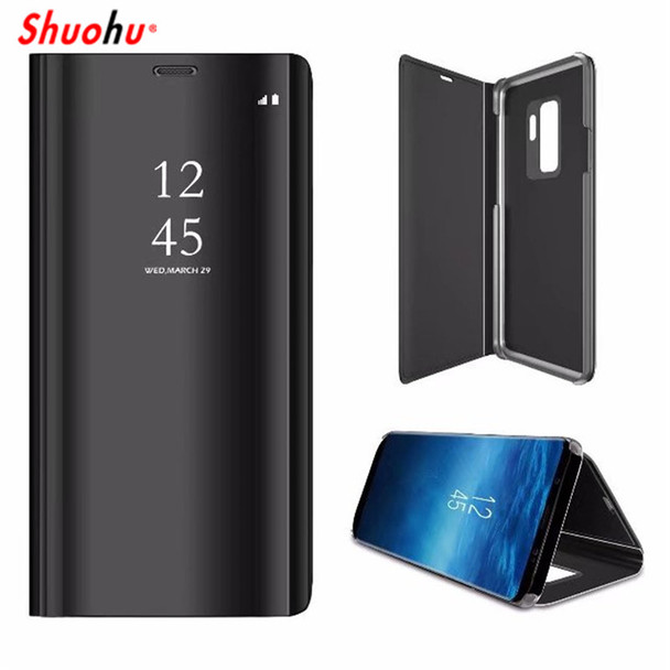 SHUOHU Phone Case Mirror Clear View Cover for Samsung Galaxy S8 S9 S7 S6 Edge Flip for Samsung Note 8 A7 A8 Plus J3 J5 J7 Case