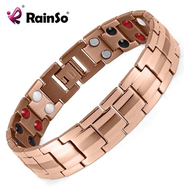 Rainso Fashion Jewelry Healing FIR Magnetic 316L Stainless Steel Bracelet For Men Or Women Accessory Unisex Trendy Bracelet