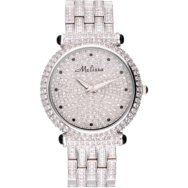 Luxury Melissa Lady Women's Watch Elegant Full Rhinestone CZ Fashion Large Hours Bracelet Crystal Clock Girl Birthday Gift Box
