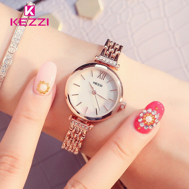 Kezzi Brand Quartz Watch Fine Rhinestone Bracelet Watch Luxury Full Stainless Steel Watch Women Dress Watch Relogio Feminino