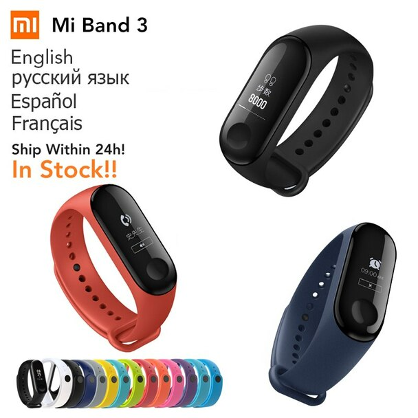 Original Global Version Xiaomi Mi band 3 Heart Rate Monitor Bluetooth 4.2 Xaomi Smart Sport Bracelet OLED Miband 3 Smartband