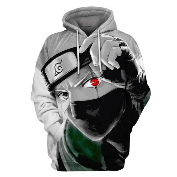 Autumn Winter Thin Stylish 3D Sweatshirts Men/Women Hoodies With Hat Print  Naruto Hatake Kakashi Hooded Hoodies Tops US Size