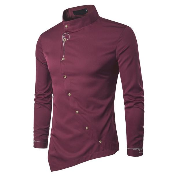 2018 Fashion New Male Shirt Long Sleeve Mens Clothes Oblique Button Dress Shirts Mandarin Collar Men Tuxedo Shirts