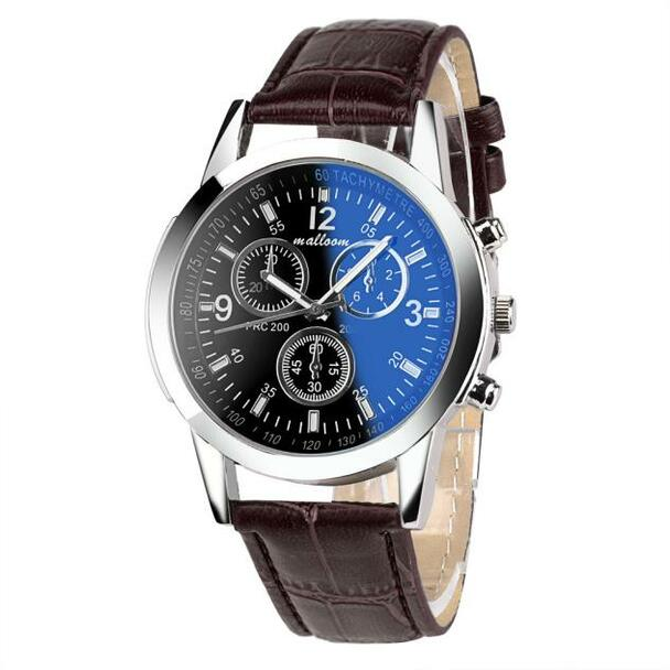 HOT SALE 2018 Top Brand Luxury Fashion Faux Leather Watches Mens Blue Ray Glass Quartz Analog Watch Wristwatch Clock Dropship