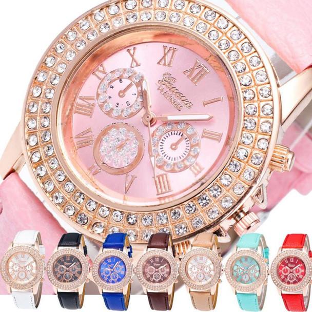 New Luxury Men Woman Watch Double Diamond Magnifying Glass Watches Dress Quartz Watch Male Female Famous Brand Wrist Watch Hot