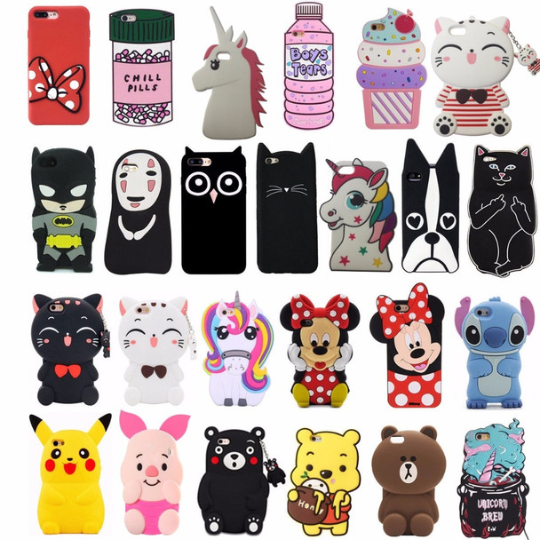 3D Cartoon Cell phone Soft Silicone Back Case Cover For iPhone 5/5S/5C/SE/6/6S/6 plus/6s Plus/7/7 Plus/8/8 Plus Capa