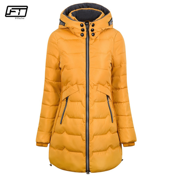 Fitaylor 2018 Plus Size 6xl 7xl Cotton Coat Long Winter Jacket Parka Women Thick Slim Long Warm Hooded Padded Parkas Female