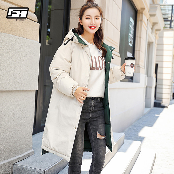 Fitaylor Winter Women Cotton Coat Medium Long Single Breasted Parkas Warm Hooded Thickening Female Jacket Snow Outwear