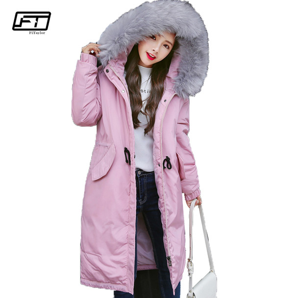 Fitaylor 2018 Big Size Hooded Winter Warm Jacket Women Fashion Fur Collar Cotton Padded Coat Thick Loose Long Parka Mujer Coats