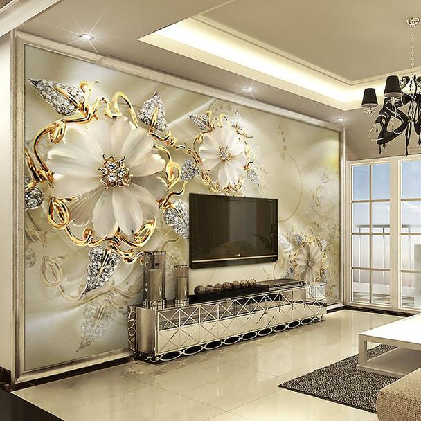 Custom 3D Mural Wallpaper European Style Diamond Jewelry Golden Flower Backdrop Decor Mural Modern Art Wall Painting Living Room