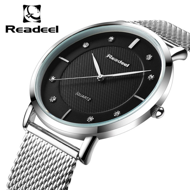 Readeel New Top Luxury Watch Men Brand Mens Watches Ultra Thin Stainless Steel Mesh Quartz Men Wristwatch Fashion Casual Watches