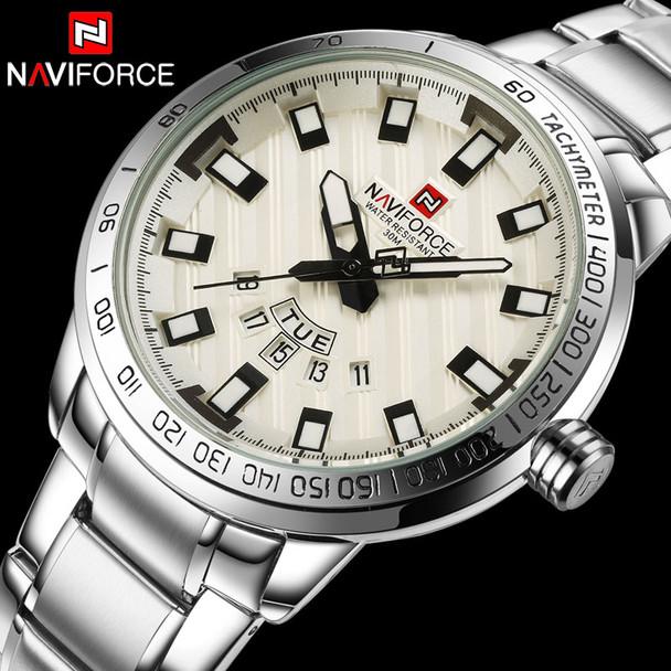 Men Quartz Watch NAVIFORCE Luxury Sport Watches Business Silver Steel Watch 30M Waterproof Calender Wristwatches Reloj Hombre