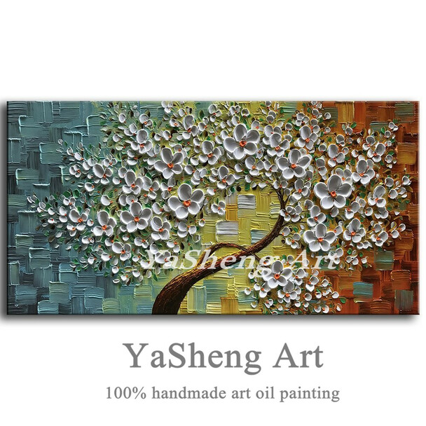 New handmade large Modern Canvas on Oil Painting Palette knife Tree 3D Flowers Paintings Home living room Decor Wall Art Picture