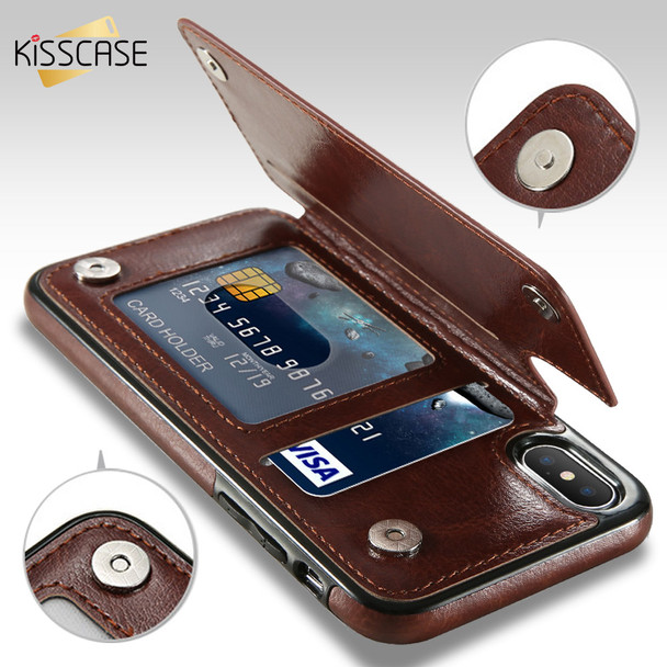 KISSCASE Leather Case For iPhone X 6 6s 7 8 Plus XS 5S SE Multi Card Holders Phone Cases For iPhone XS Max XR 10 Cover
