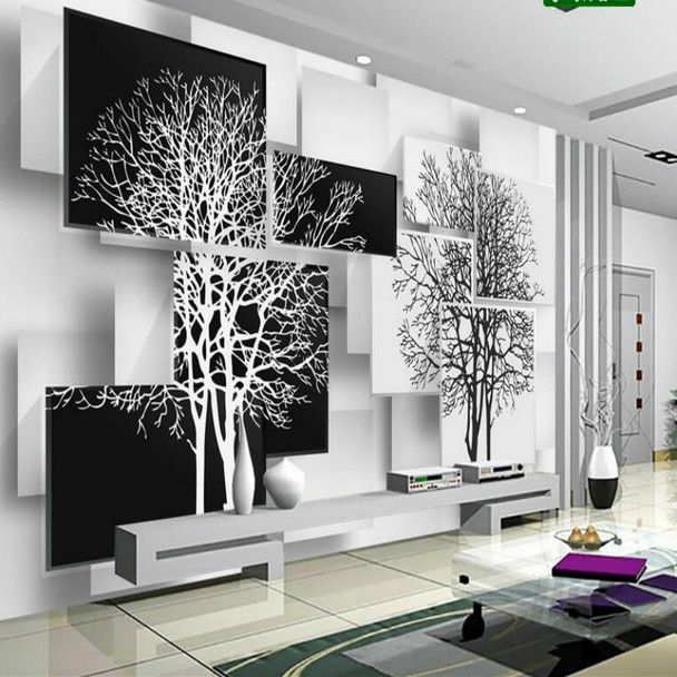 Customization 3D Wallpaper for Walls 3d Non Woven Silk Wallpaper Murals  Backgrounds for Living Room Simple Black and White Tree
