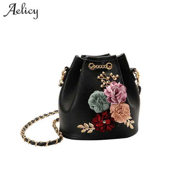 Aelicy 4 Colors 2018 new fashion Flower bucket bag shoulder Messenger bag  PU Leather Women Brand Design Bolsa Feminina 0929 1a1e4f53b5736