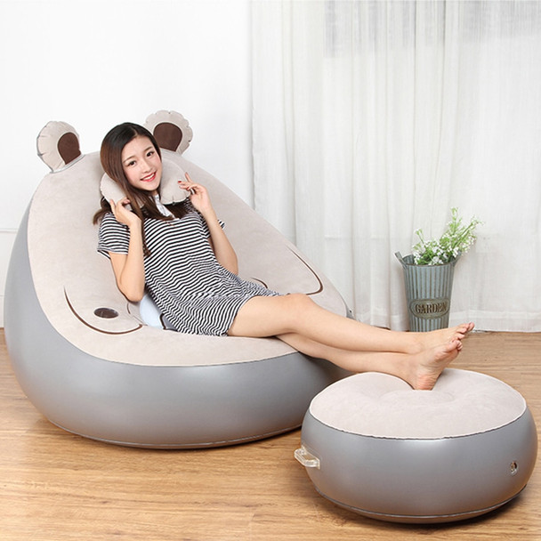 Cute Expression Inflatable Bean Bag Sofa Lounge Chair and Ottoman Air Couch Sillones Puff Lazy Sofa Set Living Room Furniture