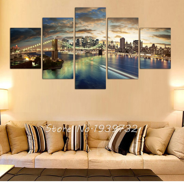5 pcs HD New York City landscape Canvas Painting wedding decoration For Living Room Custom Modular Wall Pictures Direct Selli