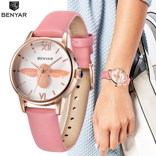 Fashion Women Watches Benyar Luxury Brand Ladies' 3D Bee Black Gold Bracelet Watch Relojes Mujer Montre Femme Animal Wristwatch