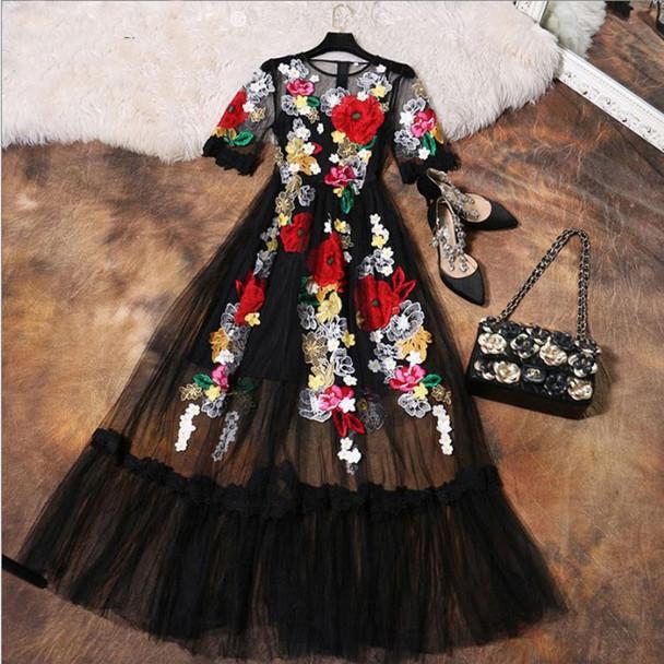 Luxury Dress New 2018 Summer Fashion Designer New Elegant Flower Embroidery Appliques Black Mesh Slim Women Vintage Long Dress