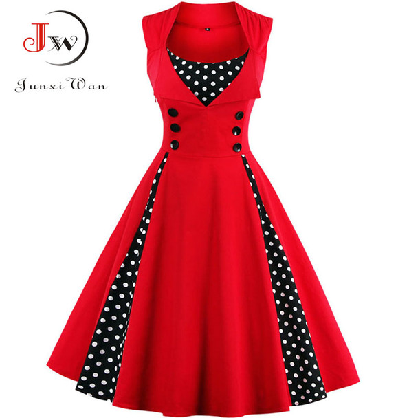 S-4XL Women Robe Retro 2018 Vintage Dress 50s 60s Rockabilly Dot Swing Pin Up Summer Party Dresses Elegant Tunic Vestidos Casual