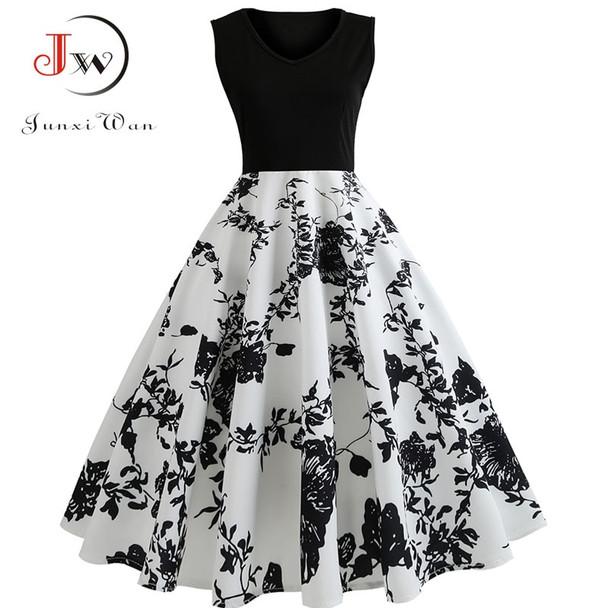 V Neck Sexy 2018 Summer Dress Women Floral Print Patchwork Vintage Dress Hepburn 50s Elegant Party Dresses Plus Size Sundress
