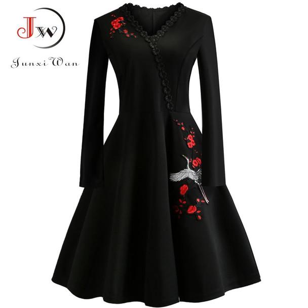 4XL Plus Size Women Embroidery Vintage Dress Lace Black Elegant Bodycon Party Dresses Long Sleeve Casual Autumn Winter Vestidos