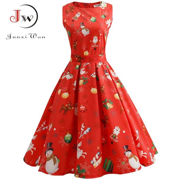 Vintage Dresses Women Casual Elegant Office Work Red Christmas Dress Retro Hepburn O-neck Sleeveless Swing Party Dress Plus Size