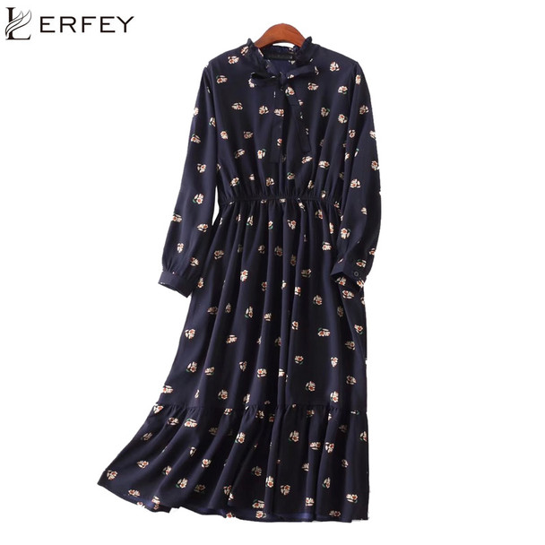 LERFEY Women Plus Size Dress Floral Print Long Sleeve Casual Chiffon Autumn Dresses Vintage Ruffles Pleated Bow Dress Vestidos