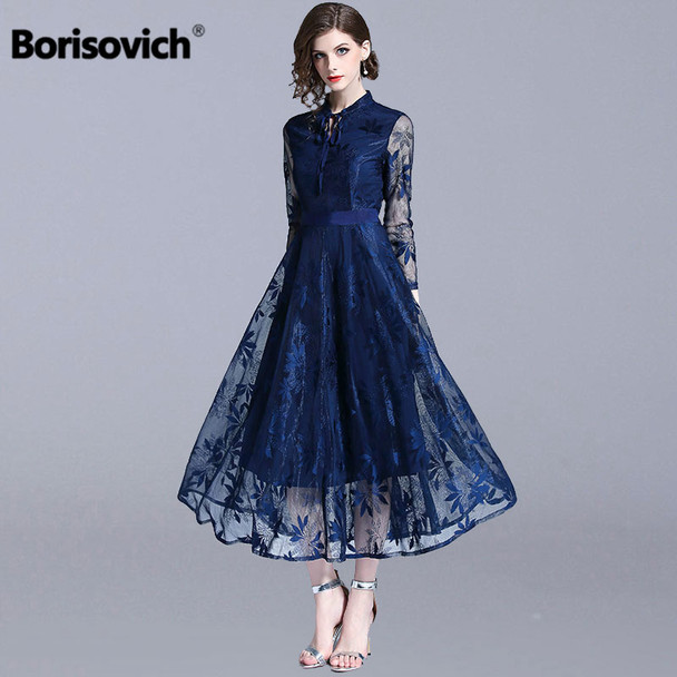 Borisovich Luxury Lace Evening Party Dress New Brand 2018 Autumn Fashion England Style Big Swing A-line Women Long Dresses N085