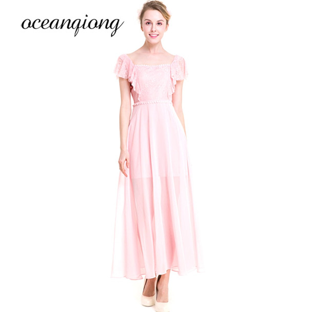 2018 Spring Summer Lace Chiffon Dress Women Sexy Loose Elegant O-neck Short Sleeve Pink Casual Beach Long Maxi Dresses Plus Size