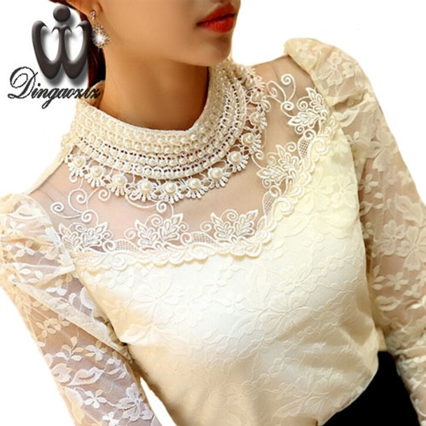 Dingaozlz Elegant Long Sleeve Bodysuit Beaded Women Lace Blouse