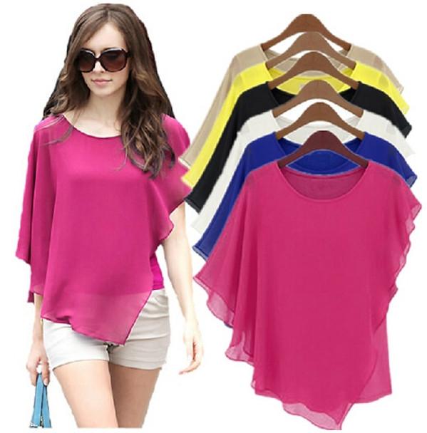 fe7cd629ea6 16 Color Plus size S- 5XL 6XL Ladies Chiffon Blouses chiffon shirts  blusas