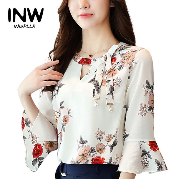 2017 New Summer Autumn Blouse Women Tops Floral Print Shirts Elegant Three Quarter Flare Sleeves Chiffon Blusas Femininas
