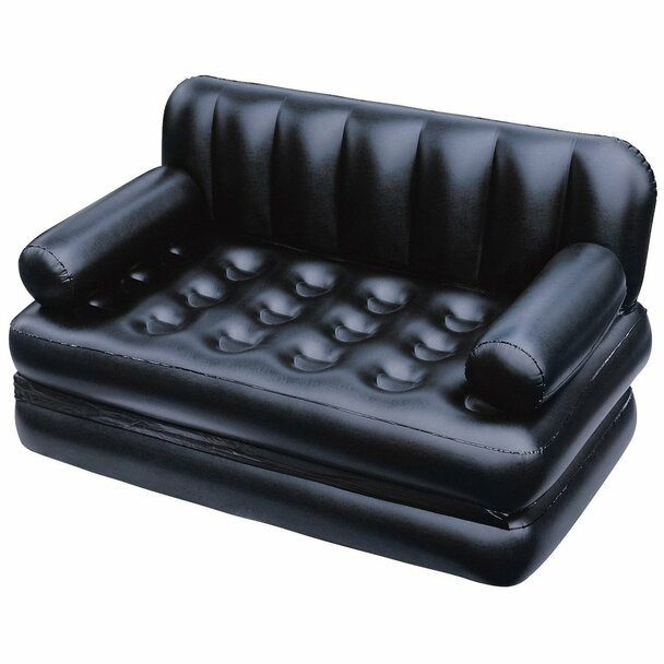 5 in 1 Inflatable Sofa Air Bed Couch BLACK With Free Electric Pump