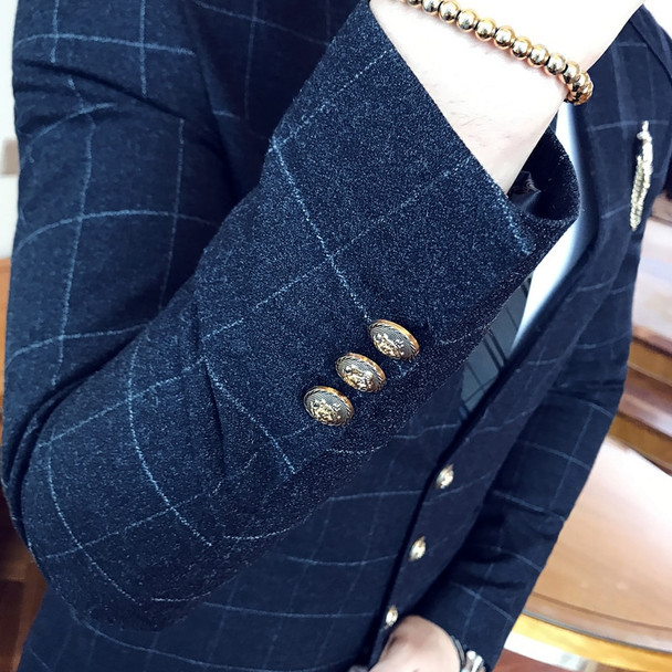 Mandarin Collar Suit Plaid Check Suit Male 2017 Chinese Collar Suit  Business Casual Terno Slim Fit Black Navy Wedding Slim Fit