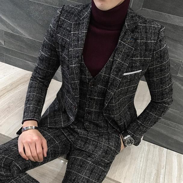3 Piece Tweed Suit Men Plaid Blazer 4XL 5XL Khaki Grey Blue Black Groom Wedding Dress Suit Costume Homme Ternos Slim Fit