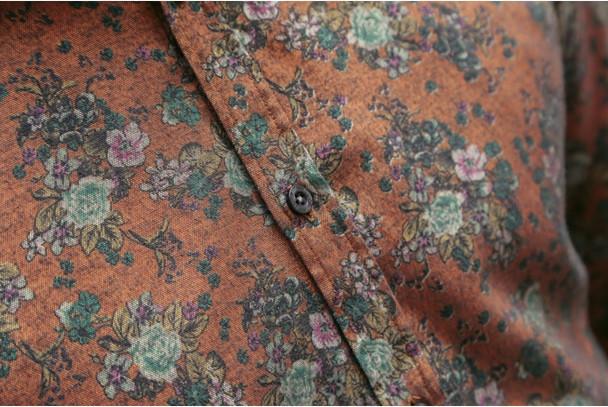 2018 autumn new fashion flower printed long sleeve shirts men camisa male slim flower shirts vintage Linen Casual Men Shirt