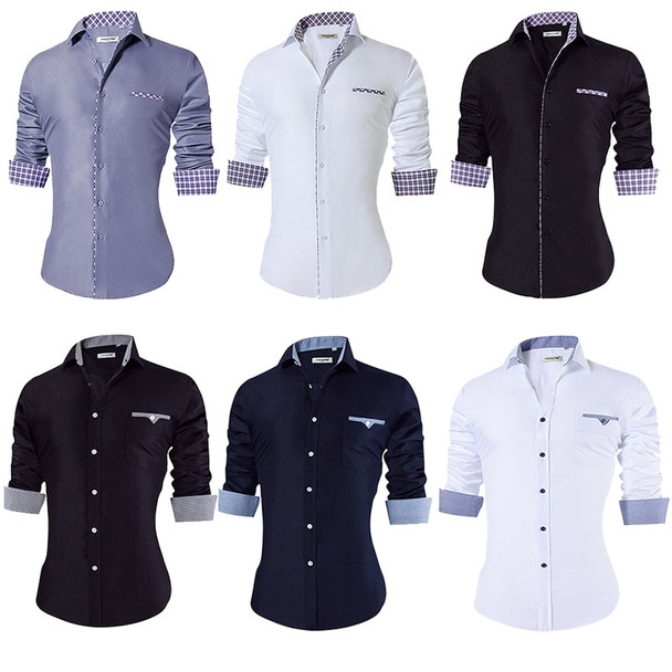 2018 Men's Casual Shirt Slim Fit Men's Casual Button Down Shirt Long Sleeve Formal Dress Shirts Men Male Clothing Camisa