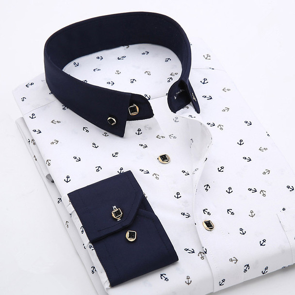 2016 Men Retro Floral Printed Shirts Fashion Classical Man Long Sleeve Slim Fit Comfort Soft Cotton Leisure Styles Shirt M035