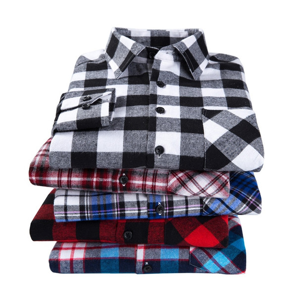 2018 New Men's Plaid Flannel Shirt Plus Size 5XL 6XL Soft Comfortable Spring Male Shirt Business Casual Long-sleeved Shirts