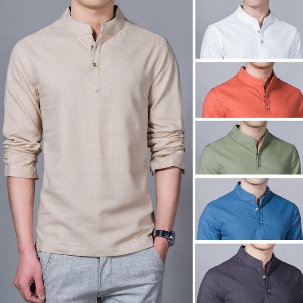 2018 Fashion Long sleeve Men's shirts male casual Linen shirt men Brand Plus size Asian size camisas DX366