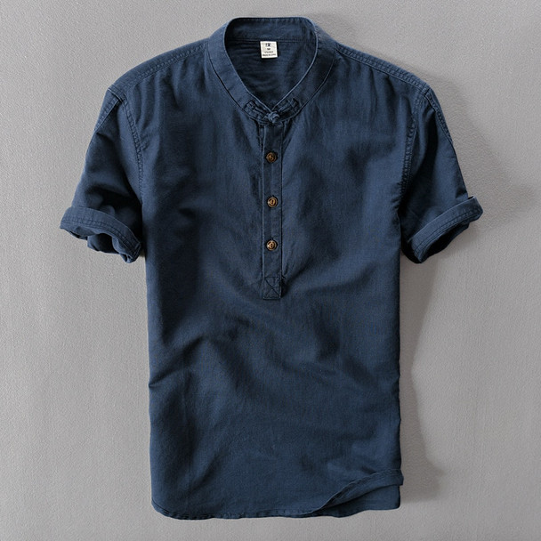 2018 New Summer Brand Shirt Men Short Sleeve Loose Thin Cotton Linen Shirt Male Fashion Solid Color Trend O-Neck Tees