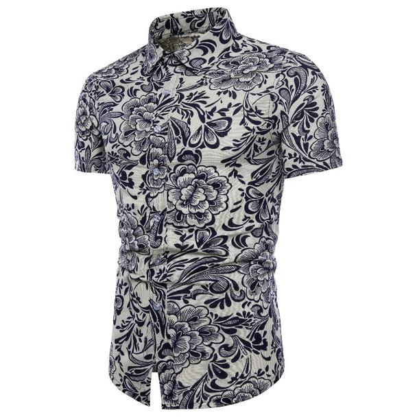 2018 Fashion Men's Short Sleeve Hawaiian Shirt Summer Casual Flower Shirt Men's Asian Size M-5XL 12 Colors Camisas