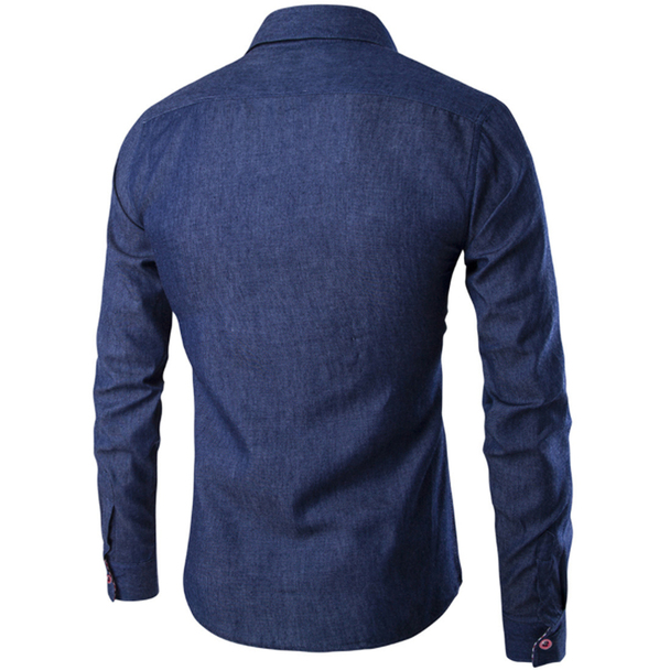 2018 New Fashion Brand Men Shirt Pocket Fight Leather Dress Shirt Long Sleeve Slim Fit Camisa Masculina Casual Male Shirts Model