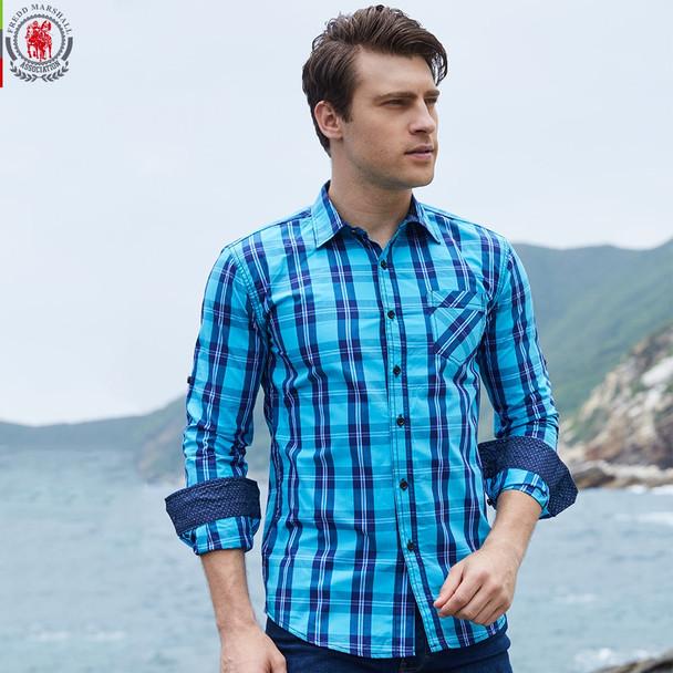 2017 New Arrival Men's shirt  Long Sleeve Plaid Shirts Mens Dress Shirt Brand Casual Denim Style Checks Shirts 102