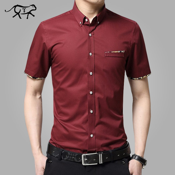 2018 New Brand Men Shirts Brand Turn-down Collar Slim Fit Men Chemise Homme Casual Summer Business Shirt Mens Short Sleeve M-5XL