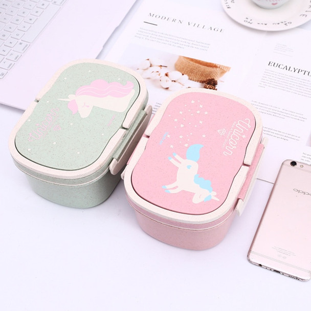 Cokytoop Student Lunch Box for Kid Health Wheat Straw Eco-Friendly Food Storage Bento Boxes 2 Layer Handle Broodtromme Licorne