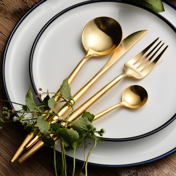 Hot Sale 4 Pcs/set Pure Gold european Dinnerware knife 304 Stainless Steel Western Cutlery Kitchen Food Tableware Dinner Set