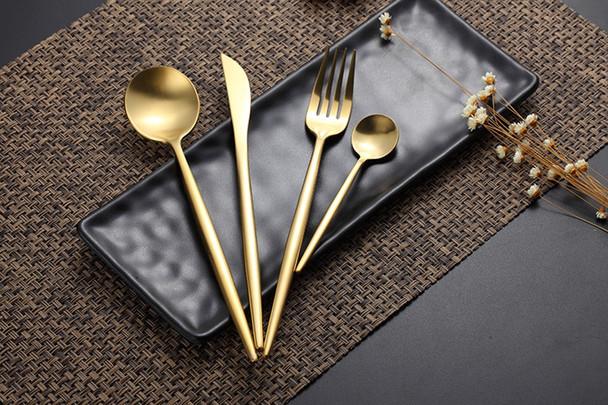 Hot Sale 4 Pcs/set Pure Gold european Dinnerware knife 304 Stainless Steel Western Cutlery Kitchen Food Tableware Dinner Set